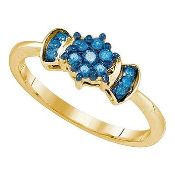 10K Gold Women's Blue Round Diamond Flower Cluster Ring - FREE Shipping (US/CA)
