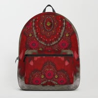 Strawberry  with waffles and fantasy-flowers in harmony Backpack by Pepita Selles