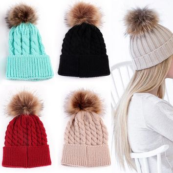 1Pc Fashion Warm Women Candy Colors Hat Knitting Wool Casual Cap Crochet Knitted Hats Wool Fur Beanie Pompom Ball Hat Winter