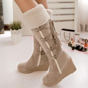 Women's winter boots cross-tied fashion mid-calf boot short plush increase snow boots large size 4-10.5 designer
