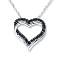 Heart Necklace Black Spinels Sterling Silver