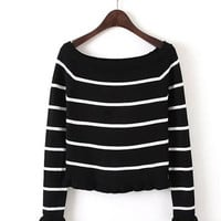 Off Shoulder Stripes Sweater in Multicolor
