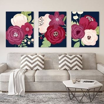Flower Wall Art, Navy Maroon Flower, Flower CANVAS or Print Flower Prints Navy Plum Bedroom Wall Decor, Floral Bathroom Decor, Set of 3