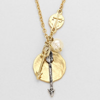 Cross Metal Arrow Gold Necklace