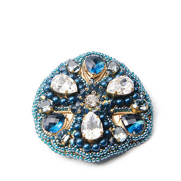 Brooch pendant Swarovski navy blue Embroidery/ gift for her / blue/stylish fashion jewelry / Large brooch