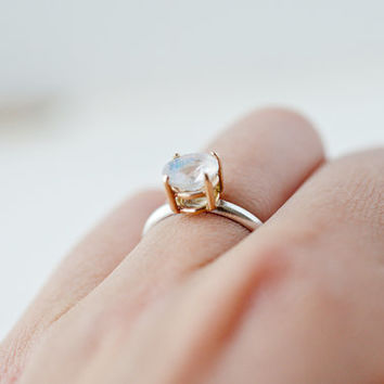 Married Metal 7mm Magnificent Rainbow Moonstone Ring - Engagement Ring - Solid Gold and Recycled Silver Ring - Fly Me to the Moon