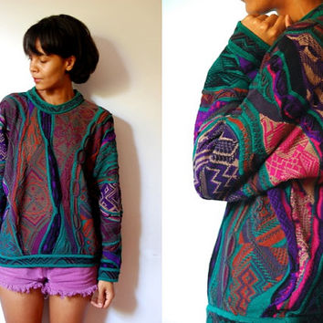 Vtg Coogi Mixed Pattern Purple Pink Green Knitted Sweater