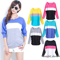 New Fashion Women Stripe Casual Long Sleeve T-Shirt Round Collar Tops Blouse