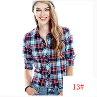 Women Casual Plaid Shirts Square Collar Full Length Leisure Shirt
