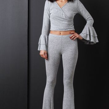 Soft Marled Knit Crop Top With High Waisted Flared Pants