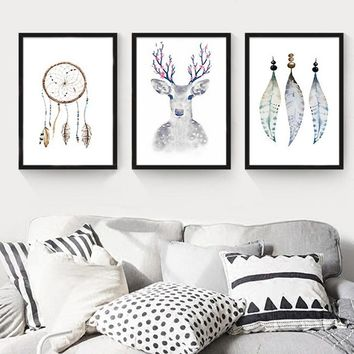 Modern Frameless Abstract Dream Catcher Painting Canvas Elk Poster Wall Art For Living Room Home Decor