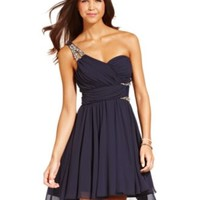 City Studios Juniors' Rhinestone One-Shoulder Dress | macys.com