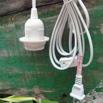 Single Socket Pendant Light Cord Kit for Lanterns (15FT UL Listed White) 15FT