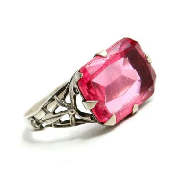 Antique Sterling Silver Art Deco Ring - Vintage 1930s Size 7 Pink Glass Stone Jewelry / Hearts