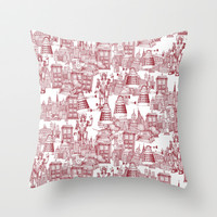 Doctor Who Toile de Jouy | 'Walking Doodle' | Red Throw Pillow by Sharon Turner