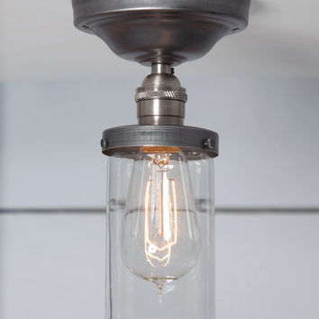 Cylinder Glass Shade Light - Semi Flush Mount