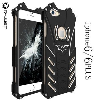 R-JUST For iphone 6 6S plus case,Armor Heavy Dust Metal Aluminum CNC BATMAN protect Skeleton phone shell case cover+ bracket