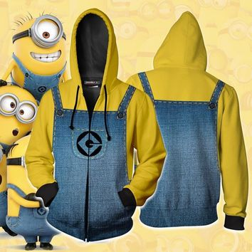 Minion Cosplay Costumes Minion Hoodies 3D Printed Sweatshirt Game Anime Jacket