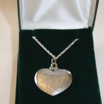 Vintage Pewter Heart Pendant Necklace, Kirk Stieff Pewter Flower Jewelry