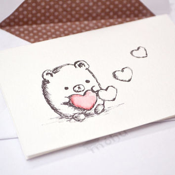 cute Valentine card - mini bear with heart for Valentine's Day