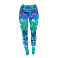 "Ebi Emporium ""Motley Flow 5"" Blue Teal Yoga Leggings"