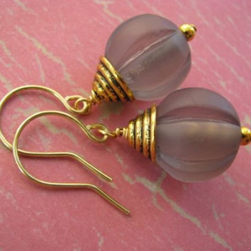 Gray and Gold Earrings, Gray Resin Fluted Rounds and Antique Gold Earrings