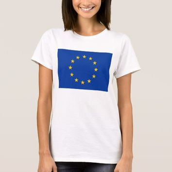 Women T Shirt with Flag of European Union