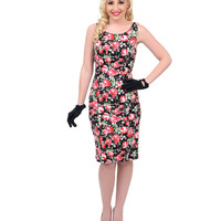 Black & Pink Rose Floral Fitted Scuba Pencil Dress