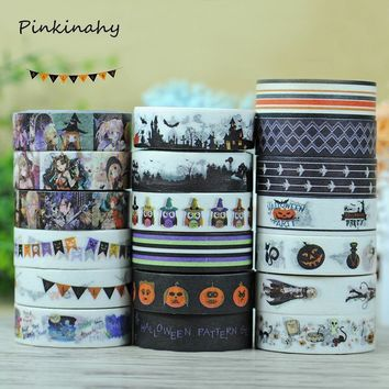 1.5cm*10m Kawaii Halloween Pumpkin Washi Tape Japanese Stationery Scrapbooking Tools Masking Tape Adhesiva Decorativa