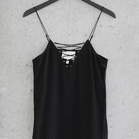 Black Silk Express Edition Lace Up Cami from EXPRESS