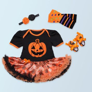 New 2017 Baby Girl Halloween gift Newborn pumpkin print rompers toddler shoes flower headband leg warmer clothing set Party tutu