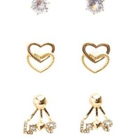 Gold Love Ear Jackets & Stud Earrings - 3 Pack by Charlotte Russe