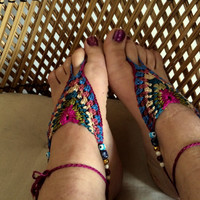 Barefoot Balkan crochet soleless sandals // foot jewlery