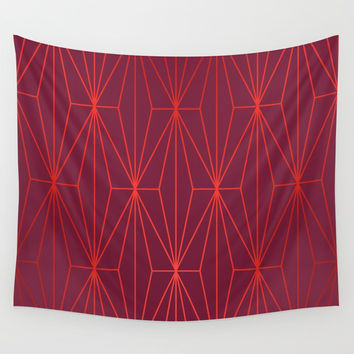 ELEGANT BEED RED TANGERINE PATTERN Wall Tapestry by Pia Schneider [atelier COLOUR-VISION]