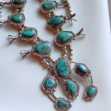 Vintage OLD Navajo Squash Blossom Necklace - Rare Red Mountain Turquoise - SALE - Sterling -Over 200 Grams or 8 Oz - Carico Lake - Gorgeous