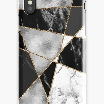 'Black white and gold marble pattern' iPhone Case by Quaintrelle