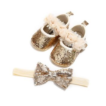 Baby Girl Shoes Sequins Glitter Crib Shoes & Headband Set / sizes 0-18M / 4 color choices