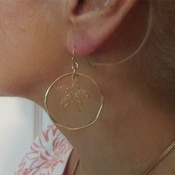Starfish Etched, Hoop Earrings  - In Stock Same day shipping