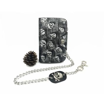 Vintage Rock Punk PU Leather Wallet for Men Boys Gothic Skull Head Chain Purses Id Bank Card Holders Small Hasp Long Purse