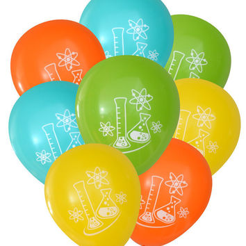 Mad Science Balloons - Pack of 8 | Geeky Flask and Atoms Party Birthday Decorations Teacher Chemist Physicist Kids Party