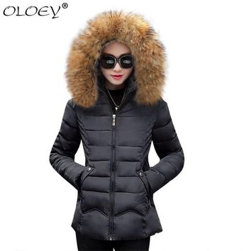 Trendy OLOEY 2018 Fashion Winter Jacket Women Parka Hooded Outerwear Female Autumn Jacket Warm hat Cotton Coat Slim Women Winter Coat AT_94_13