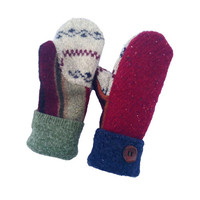Wool Sweater Mittens - Women's Mittens Handmade in Wisconsin - Fleece Lined Mittens Maroon Navy Green Earthy Upcycled Sweaty Mitts