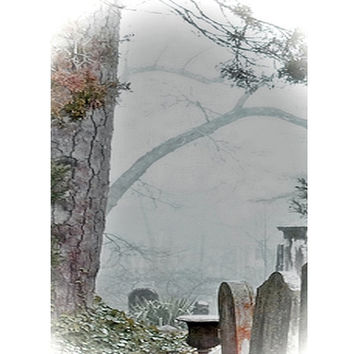 Fantasy Dark Art, Death by Winter Fog, 5x7 Gothic Fine Art Print, Virginia Cemetery Fine Art