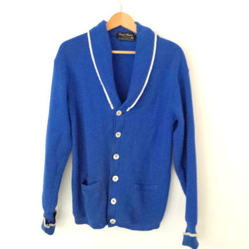 Rare Vintage Royal Blue Shawl Wool Cardigan Cowichan Curling Varsity Sweater 1950's Canada Sz Large