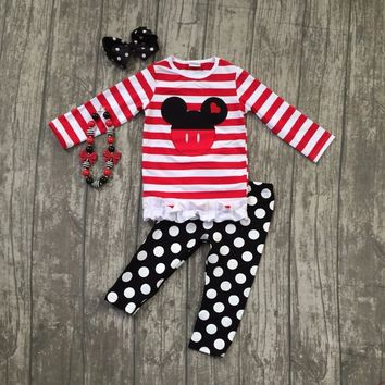 spring baby girls mouse striped polka dot children clothes boutique outfits with match accessories long sleeve pant kids wear