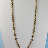 Green and Clear Rhinestone Necklace Curb Link Chain Gold Tone Vintage