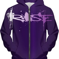 Rise! Unisex fit hoodie - Dark Purple Phoenix reborn from flames, all-over-print
