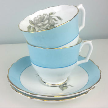 Vintage Crown Staffordshire Bone China Tea Cup and Saucer Set, Grey Rose Design, Powder Blue White English Tea Cup Saucer Set, Shabby Chic