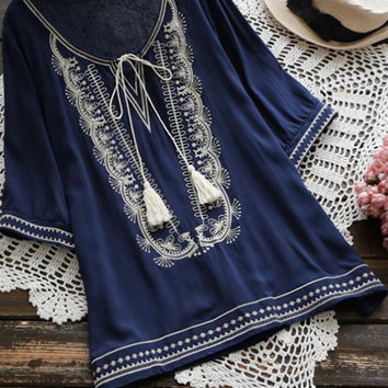 Cupshe Shoot You Embroidered Tunic Top