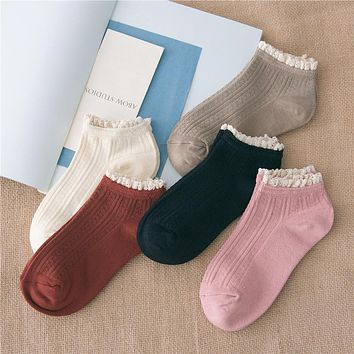 % 1Pair Sweet Princess Girl Cute Ladies Vintage Lace Ruffle Frilly Ankle Socks summer style charming women's clothing kids gift
